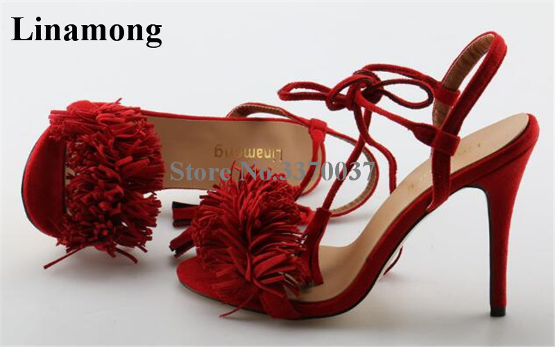 все цены на New Fashion Women Open Toe Red Suede Leather Tassels Gladiator Sandals Lace-up Fringes High Heel Sandals Dress Shoes