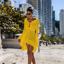 цены Swim Cover Up Dress Women's Tunic Sexy Irregular Tie V Neck Vacation Lace Dress Flare Long Sleeve Hollow Knit Beach Blouse Dress