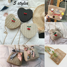 купить Women Girls Fashion Straw Bag Handwoven Round Rattan Handbags Knitted Crossbody Bag Tote по цене 140.03 рублей
