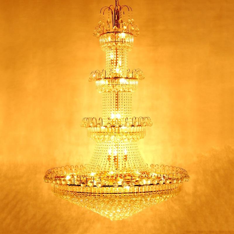 100 cm Luxus Große Europa Große Gold Glanz Kristall Kronleuchter - Innenbeleuchtung - Foto 3