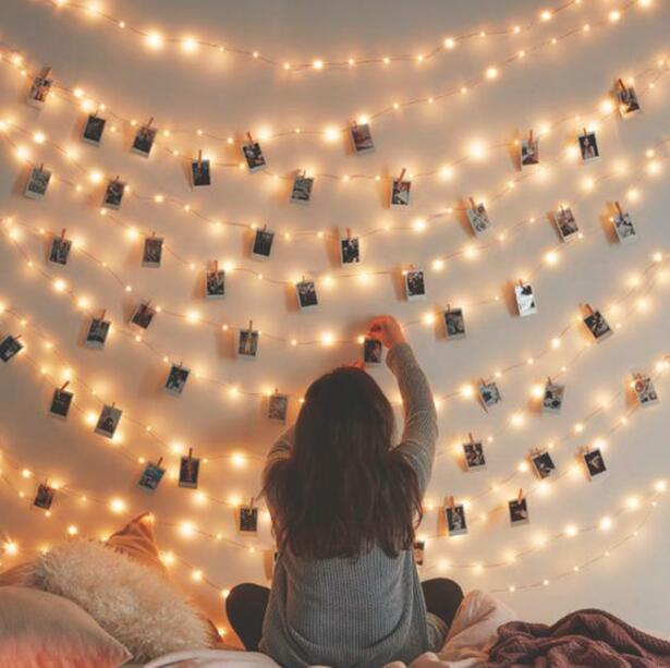 LED String Light With 10 Wooden Clips To Display Your Instant Photos, Instax Photos, Post Cards Wedding Party Christmas Decor