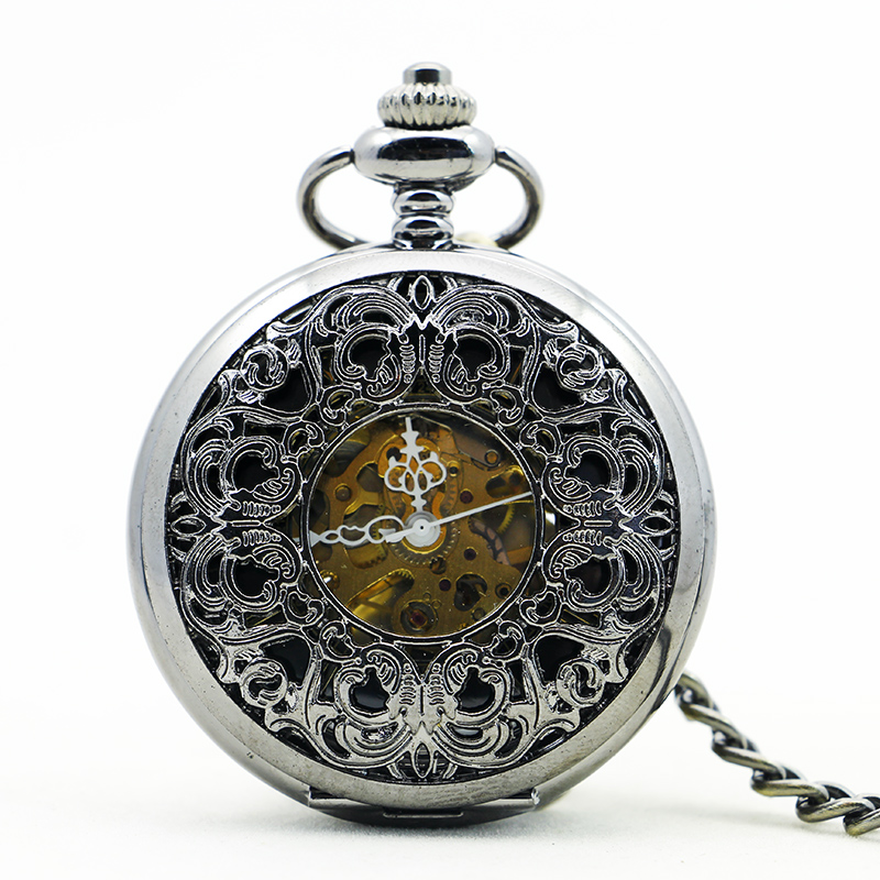 Fashion & Casual Vintage Mechanical Pocket Watch Hand Winding Hollow Fob Clock Pendant Chain For Men Women PJX1158