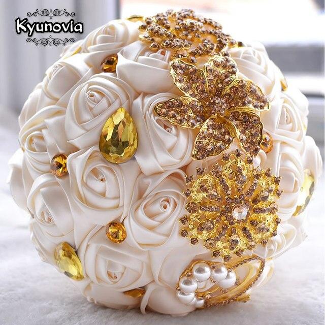 Kyunovia Gorgeous Gold Brooches Wedding Bouquet Silk Roses Bridal ...