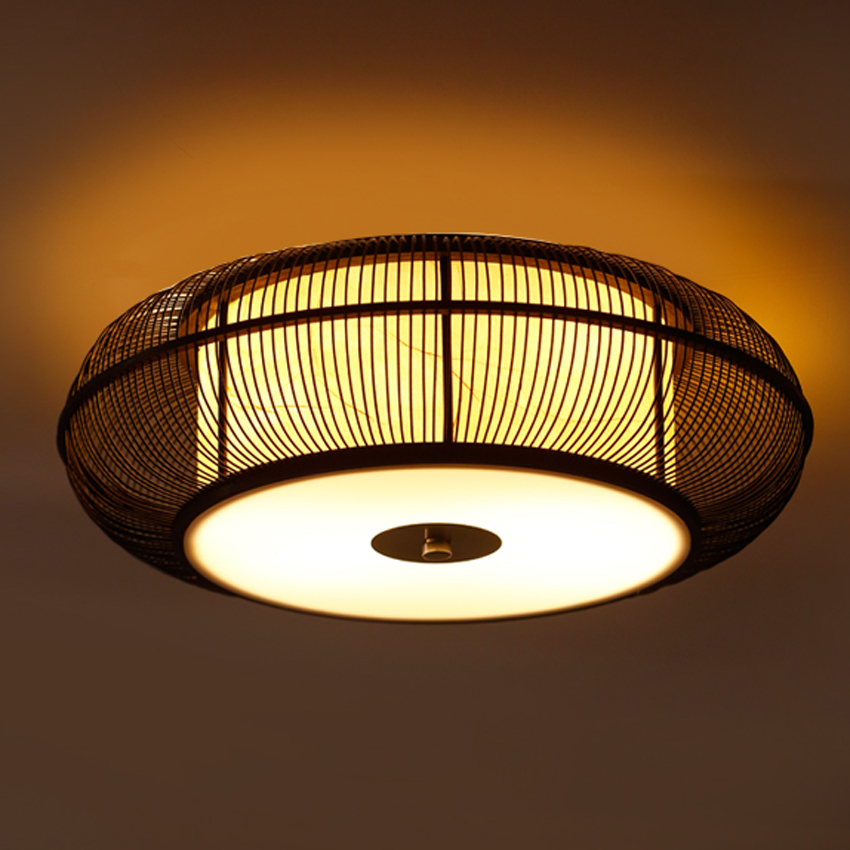 Ceiling Light Japanese: Dia 46/56cm Bamboo Knitted Ceiling Light,Japanese Asia