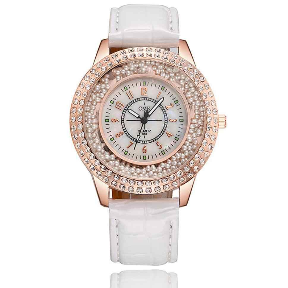 Moda ocio Casual elegante cuarzo pulsera cristal mujer reloj pulsera de piel con diamantes cristal femenino reloj de pulsera de acero inoxidable