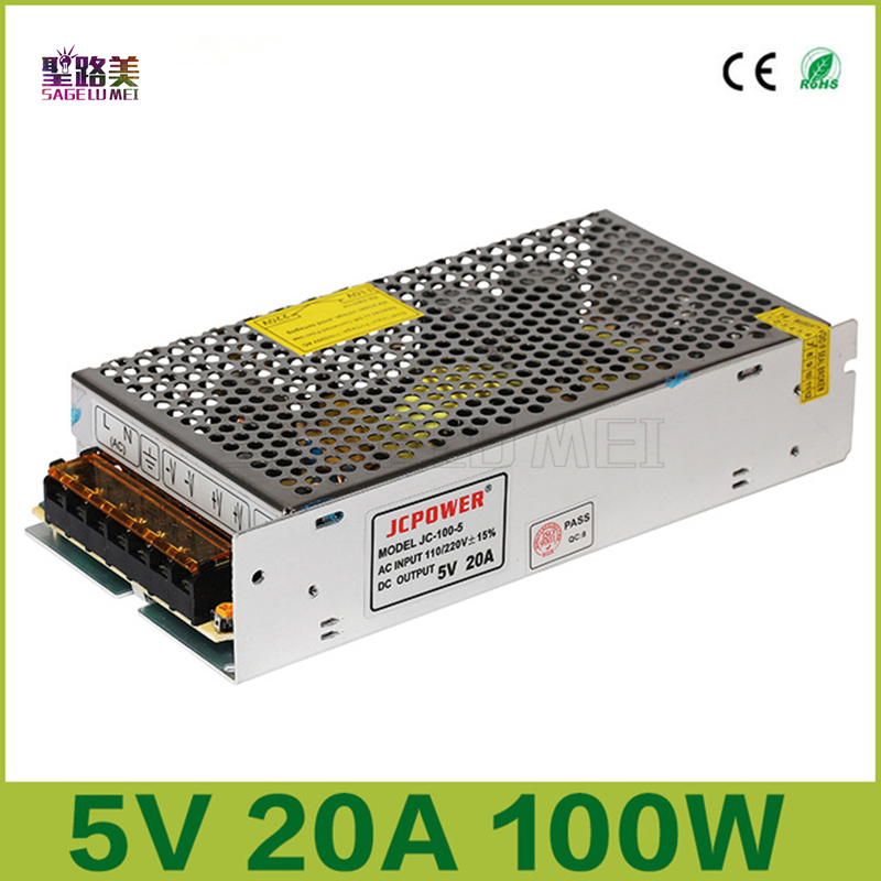 Free shipping New Switching Power Supply DC 5V 20A 100W led power adapter DC5V 100W led strip drive
