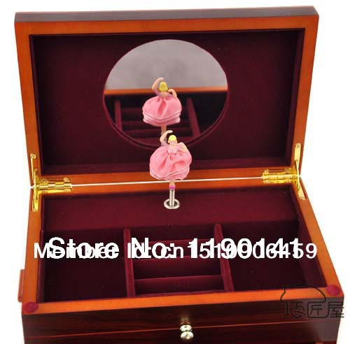 US $93 88 |Deluxe DIY Retro Wooden Ballerina Music Box Jewelry Box Women  Girl Gift With A Mirror Songs Castle In The Sky-in Music Boxes from Home &
