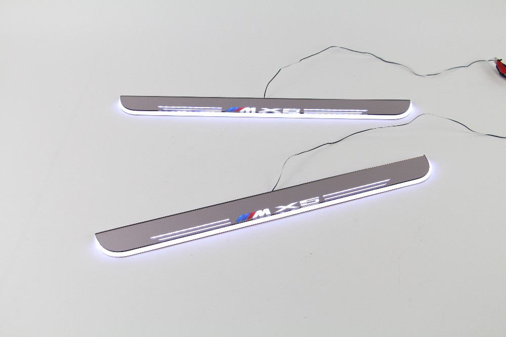 eOsuns LED moving door scuff Nerf Bars & Running Boards door sill for BMW X5 E70 2007-2012, moving light led moving door scuff nerf bars