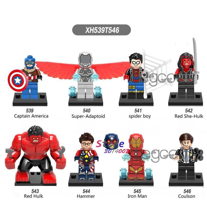 1PCS modelo blocos de construção de super herói Capitão América Aranha menino She-Hulk Vermelho Martelo de Ferro brinquedos para presente das crianças