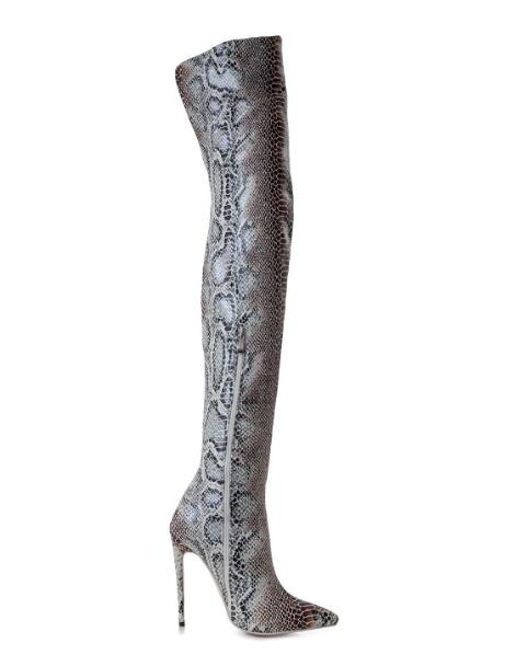 2018 New Pointed Toe Snake Print Thin High Heels Thigh High Women Long Boots Winter Lady Over The Knee High Boots 42 custom make