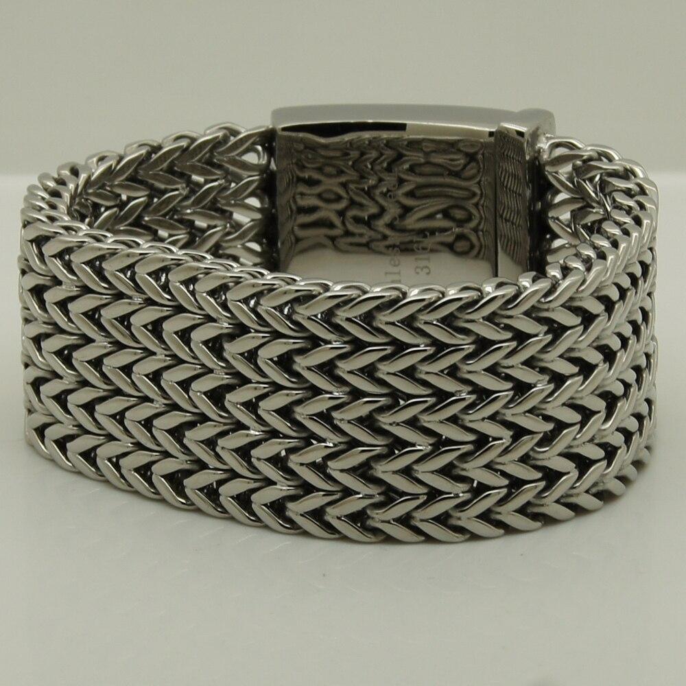 super 3.4cm wide & 174g 22cm (8.66 inch) length woven chain 316L stainless steel chain bracelet men jewelry bracelet 8 75 2cm width 98g cool men boy wolf chain 316l stainless steel bracelet