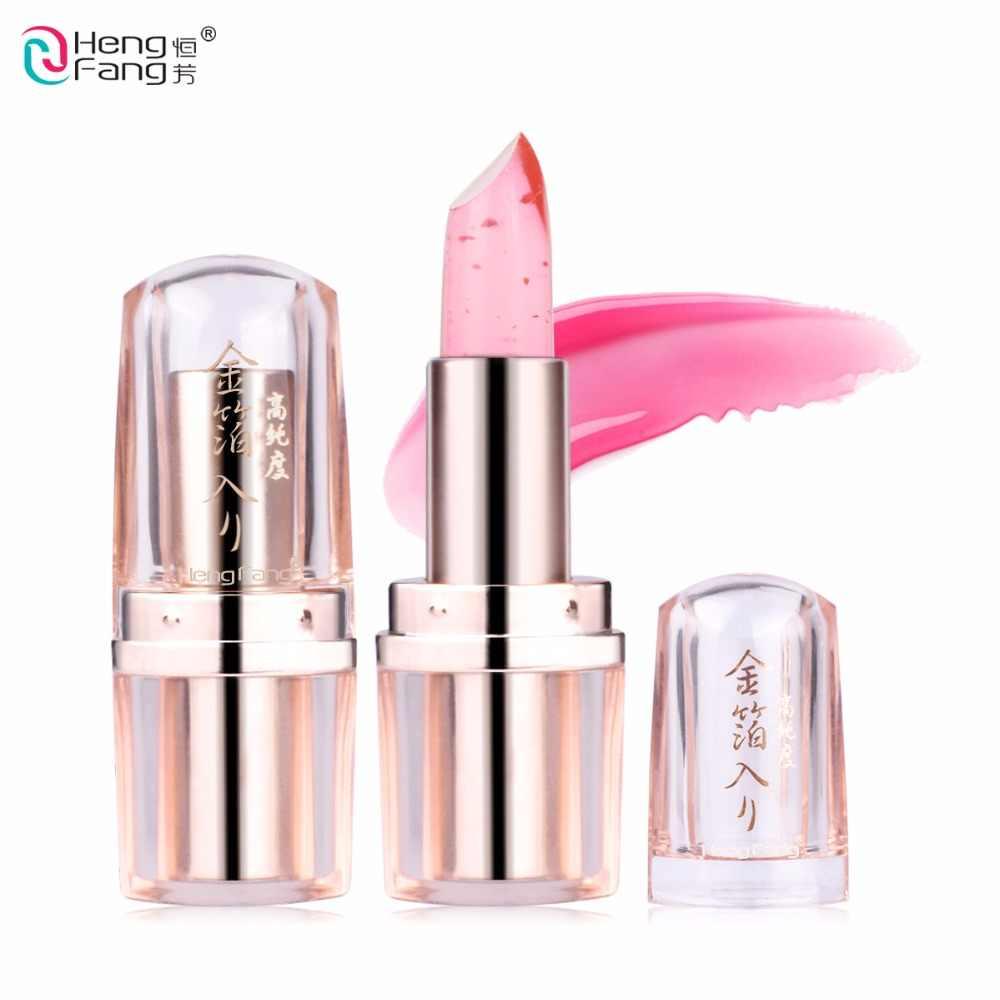 Hitam Krisan Lipstik Goldleaf Jelly Suhu Berubah Bibir 3.5G Merek Makeup Hengfang # H9266-H9267