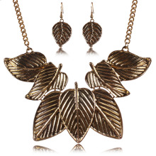 Vintage Jewelry Europe And The Major Suit Retro Style Exaggeration Alloy Leaf Necklace Earring Set Clavicle Chain Jewelry Set