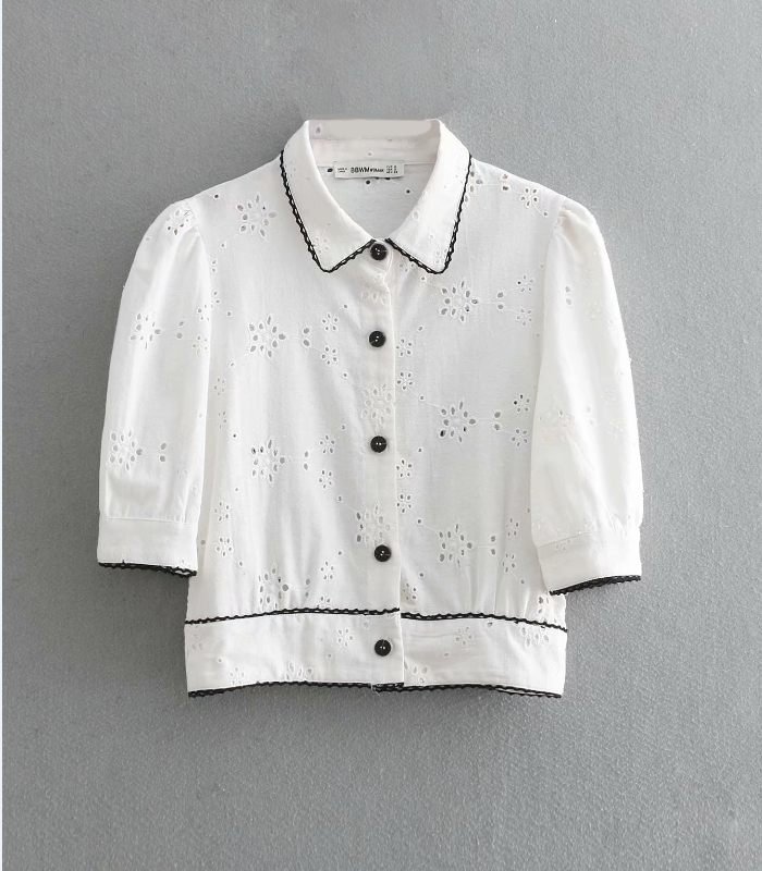 2019 women fashion lace splicing hollow out embroidery casual   blouse     shirt   women puff sleeve blusa femininas chemise tops