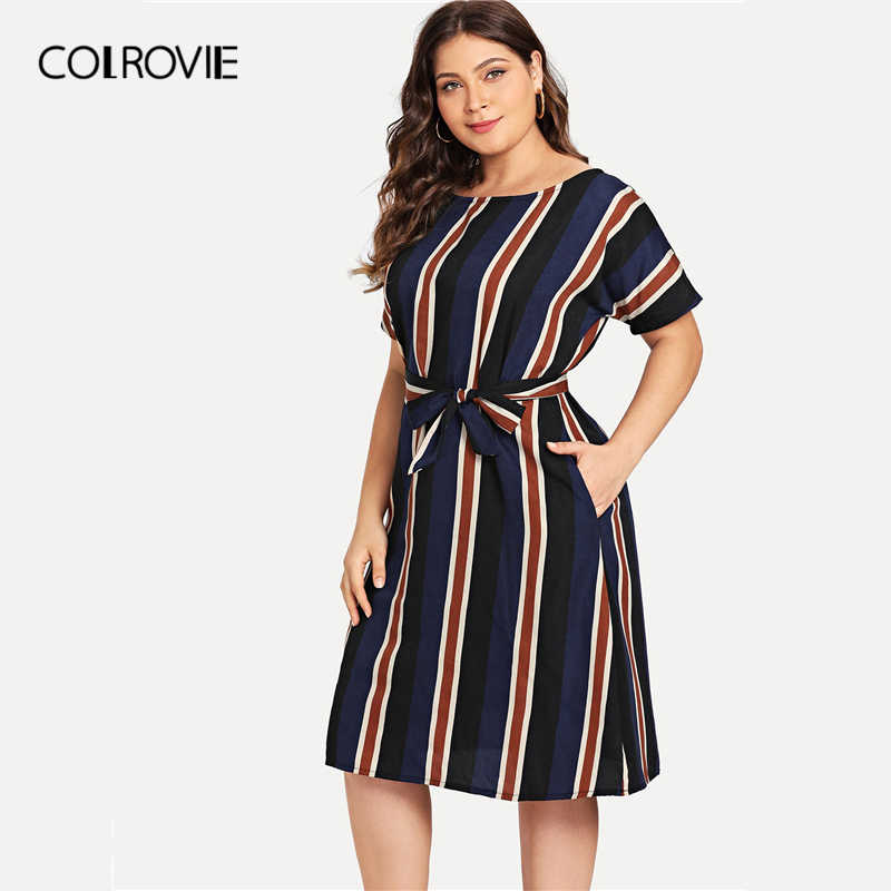 COLROVIE Plus Size Navy Belted Striped Elegant Dress Women 2019 Spring  Fashion Short Sleeve Casual Midi 564b51790