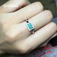 SHIQING Nature green emerald ring, 925 sterling silver rectangle unique ring for anniversary engagement