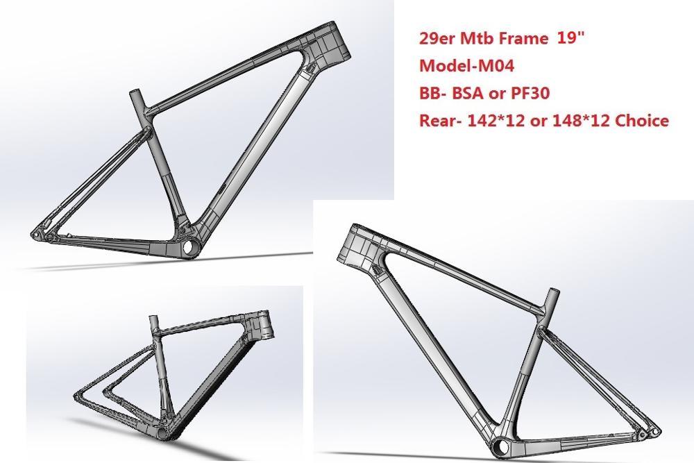 2019 Newest Carbon Mtb Frame 29er 27.5er 15 17 19 BSA BB30 Tapered Mountain Bike Frame 2 Year