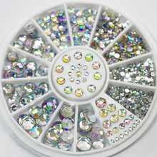 2015 Fashio  5 Sizes Mixed Colors Acrylic Glitter Rhinestones Nail Art Salon Stickers Tips DIY  Decorations Studs With Wheel