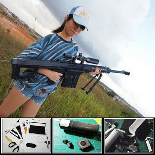 Paper Model Barrett M82A1 Sniper Rifle Cosplay Kits 1:1 Scale Weapons Paper Gun Toys