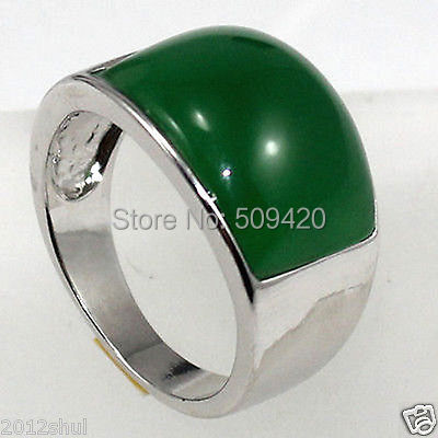 ESTATE FINE Real Green Jade Silver Ring Size 8-9#