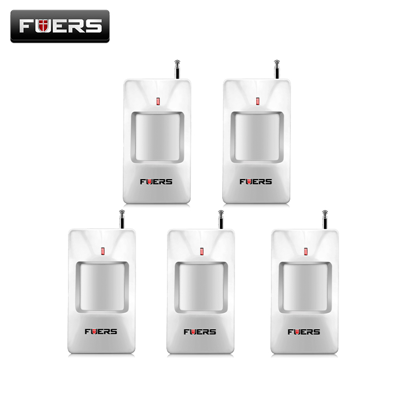 5pcs/lot Fuers Wireless PIR Sensor/Motion Detector For Auto Dial Wireless GSM/PSTN Home Security Alarm System fuers wifi gsm sms home alarm system security alarm new wireless pet friendly pir motion detector waterproof strobe siren