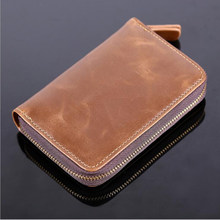 Solid Male Bank Credit Card Wallet Men Soft Card Package Real Cow Leather Coin Pocket Short Purse Slim Cards Cover Case Zipper(China)