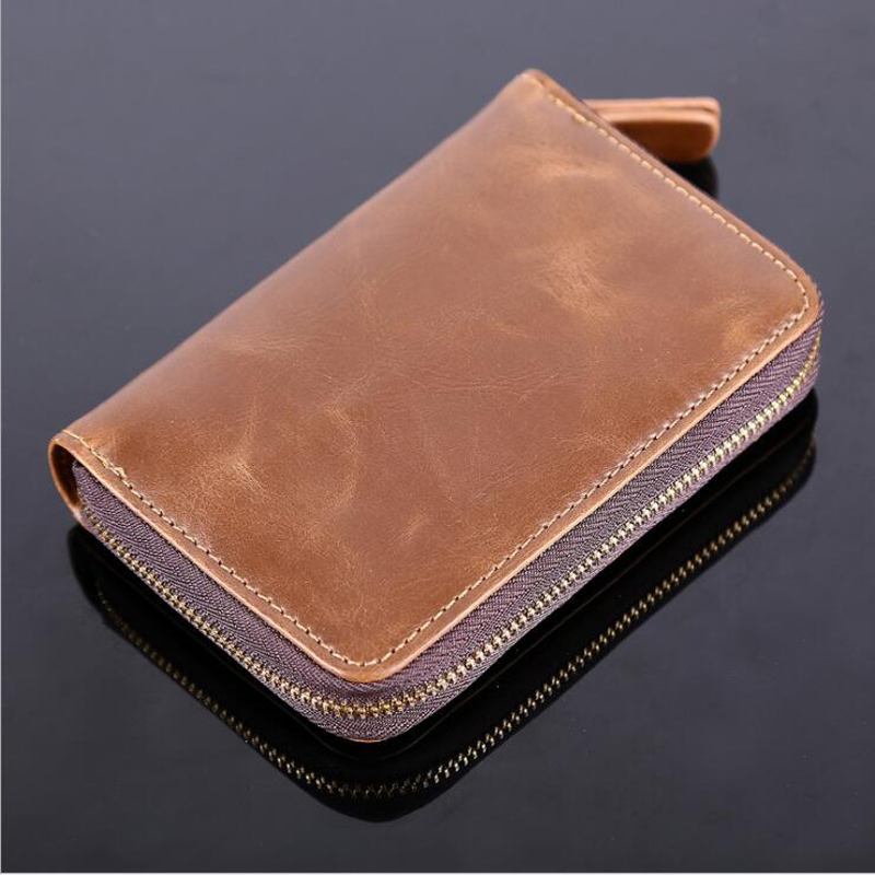 Solid Male Bank Credit Card Wallet Men Soft Card Package Real Cow Leather Coin Pocket Short Purse Slim Cards Cover Case Zipper