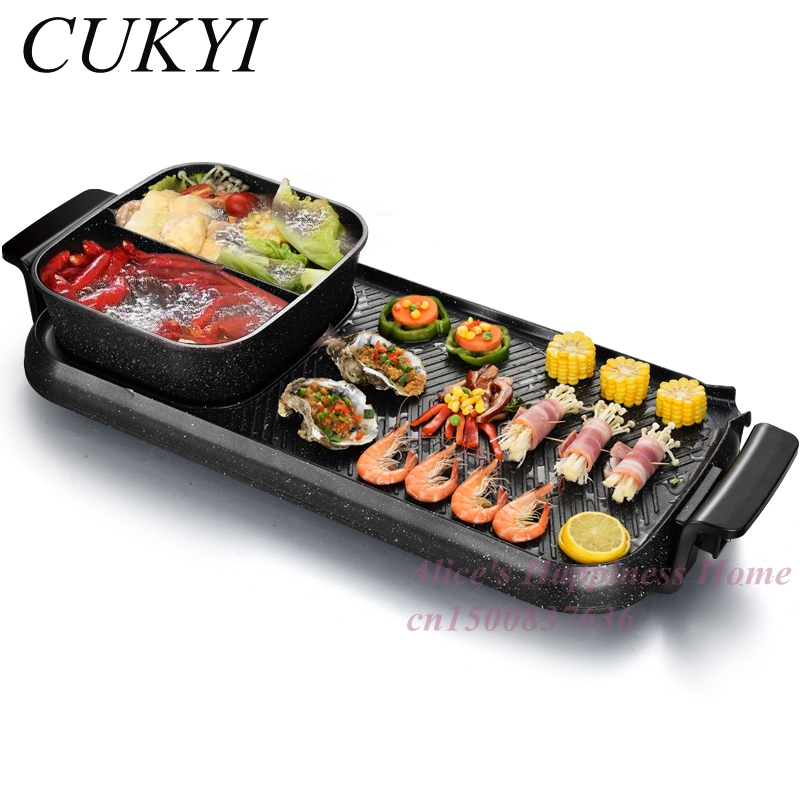Фотография CUKYI Household electric grill Double temperature control separate medical stone rinse the fire pot pot