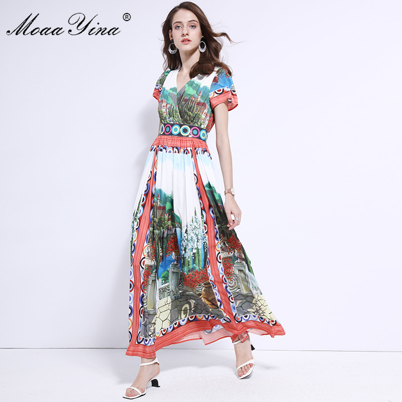 MoaaYina 2019 Fashion Designer Runway Dress Summer Women s Short sleeve V neck Sicily landscape Print