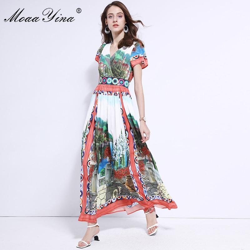 Moaayina 2019 패션 디자이너 런웨이 드레스 여름 여성 짧은 소매 v 넥 시칠리아 풍경 인쇄 슬림 우아한 맥시 드레스-에서드레스부터 여성 의류 의  그룹 1