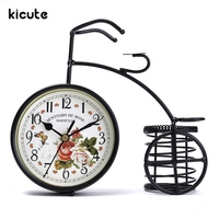 Kicute Vintage Design Metal Pen Holder Retro Classic Old Bicycle Style Clock Table Clock Gift Home