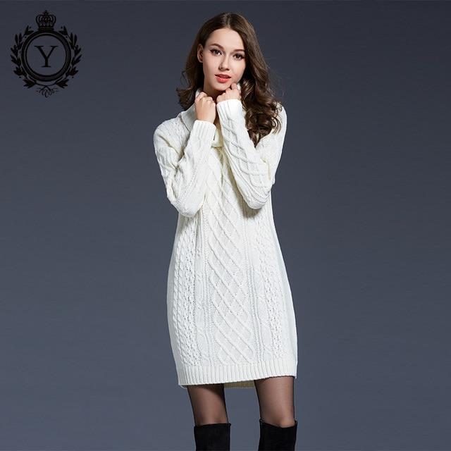 792069c96aba9 COUTUDI Solide Blanc Lâche Tricoté Robe Pull Automne Hiver Long Pull Robe  Femmes Pleine Manches Mini
