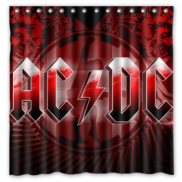 ACDC Pattern Creative Bath Shower Curtains Bathroom Waterproof Polyester Fabric Curtain 180x180cm In From Home Garden On