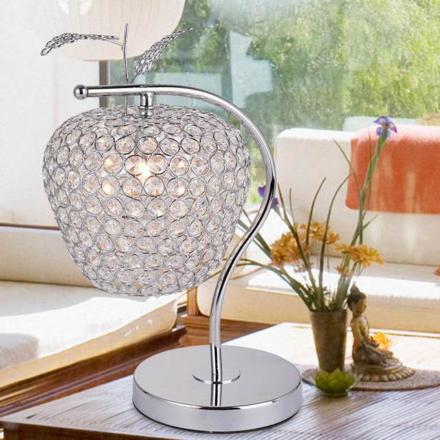 Modern Minimalist Dimmable K9 Apple Led Crystal Table Lamp Living Room Bedroom Bedside decorative lighting