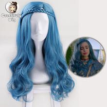 60cm Descendants 2 Evie Blue Long Wavy Wig Cosplay Costume Women Synthetic Hair Party Role Play Wigs + Wig Cap