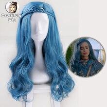 60cm potomkowie 2 Evie niebieskie długie faliste peruki przebranie na karnawał kobiety syntetyczne włosy Party peruki do odgrywania ról + czapka z peruką