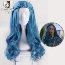 Peruca para cosplay de descendentes 2 evie, 60cm, azul, ondulado, para mulheres, cabelo sintético, para festas, peruca + peruca tampa com gorro