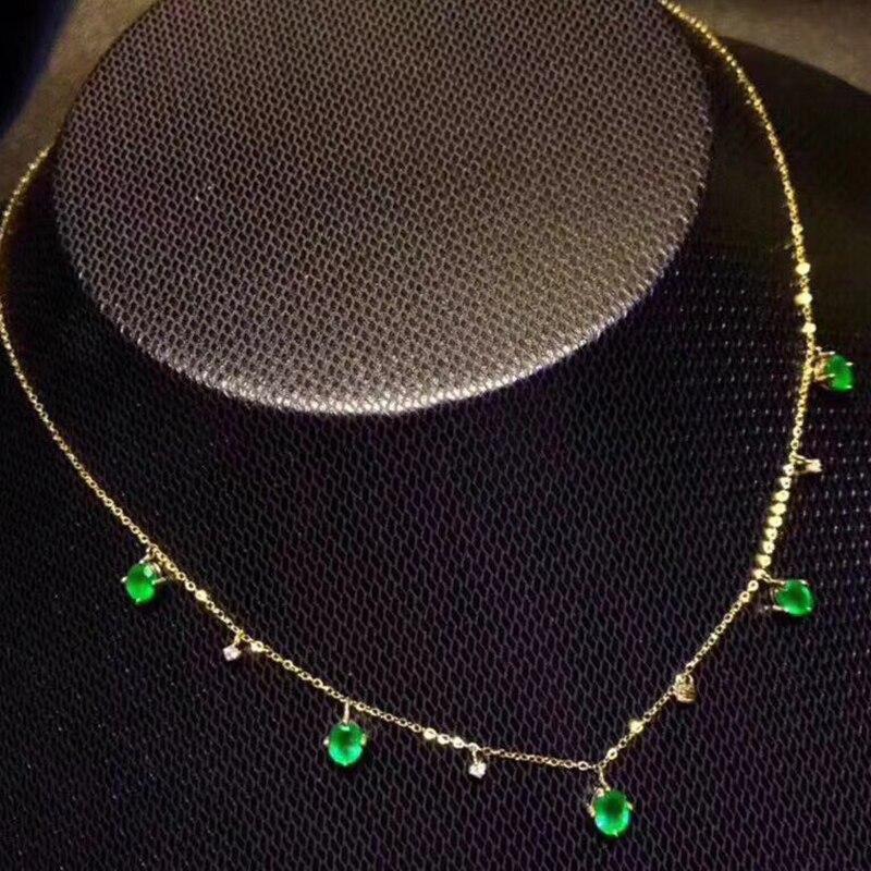 Elegante verde smeraldo della collana per il partito di sera 5 pz naturale Zambia smeraldo collana in argento 925 in argento massiccio smeraldo gioielli-in Collane da Gioielli e accessori su  Gruppo 3