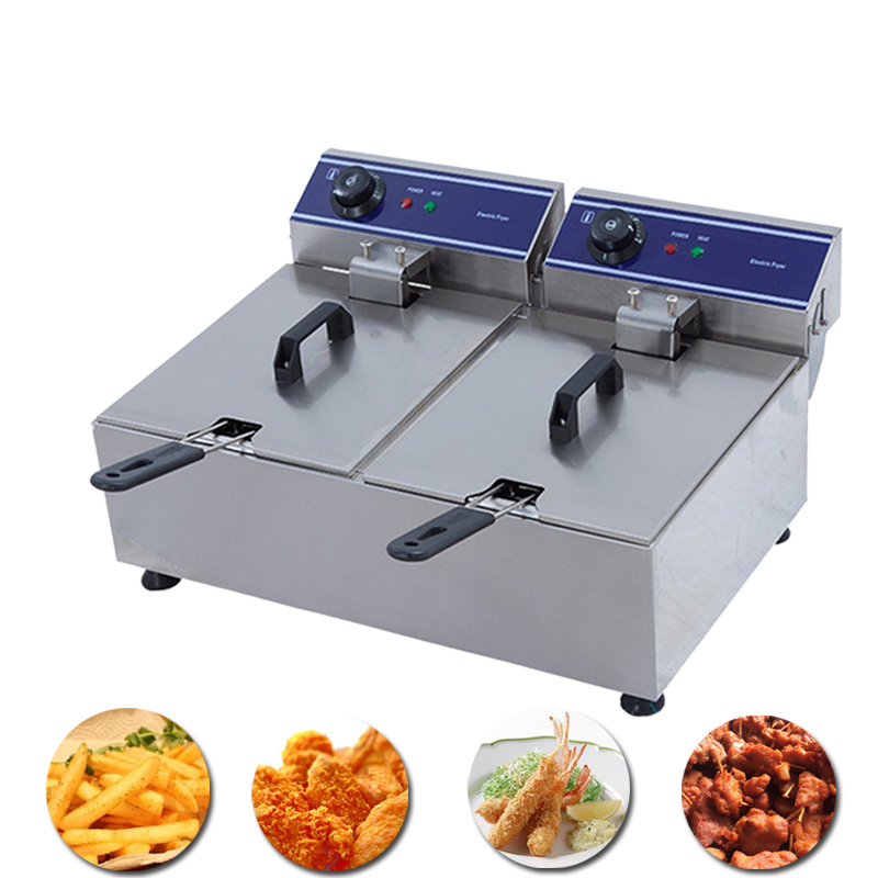Hot sale stainless steel double tank electric deep fryer smokeless french fries chicken grill multi-function mini hotpot oven Картофель фри