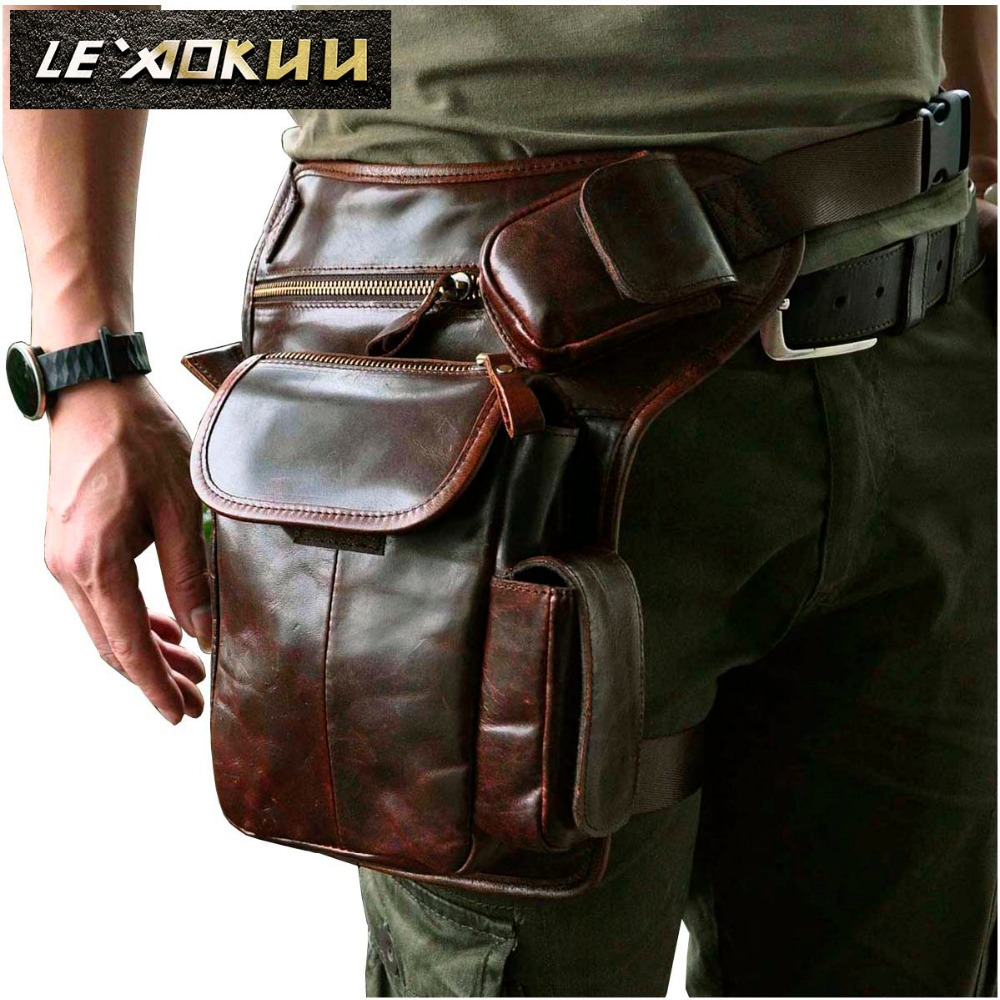 Real Leather Men Multifunction Fashion Casual Messenger One Shoulder Crossbody Bag Design Waist Belt Pack Drop Leg Bag 3106