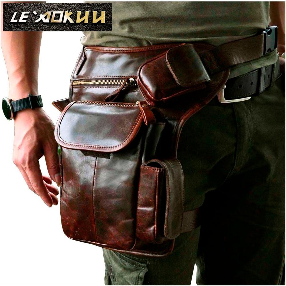 Real Leather Men Multifunction Fashion Casual Messenger One Shoulder Crossbody Bag Design Waist Belt Pack Drop Leg Bag 3106 one shoulder flounce wide leg jumpsuit