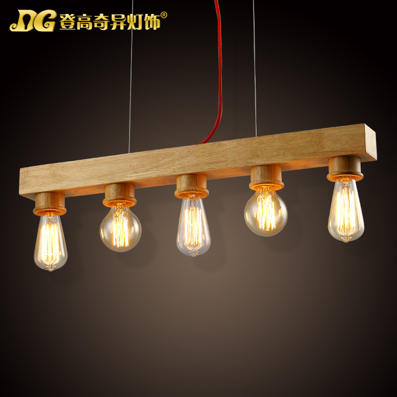 Modern Home 5 Head Wooden Dining Room Pendant Light Edison Bulb Coffee Shop Decoration Light Free Shipping купить