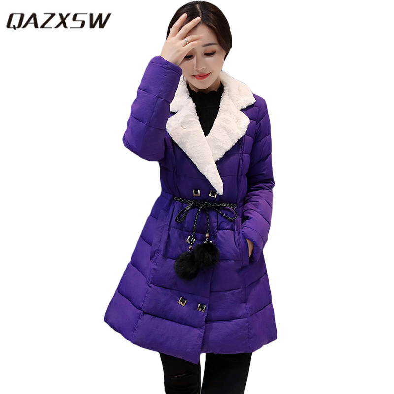 QAZXSW 2017 Women Winter Cotton Coats Turn Down Collar Jacket Slim Belt Parkas For Girl Double Breasted Jaqueta Feminina HB233 2016 new warm winter coats for women european high end slim belt long double breasted lapel women s long down jacket winter