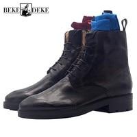 Ботинки «Мартенс» с острым носком, мужские ковбойские ботинки ручной работы на шнуровке с резным узором, роскошные деловые ботильоны из нат