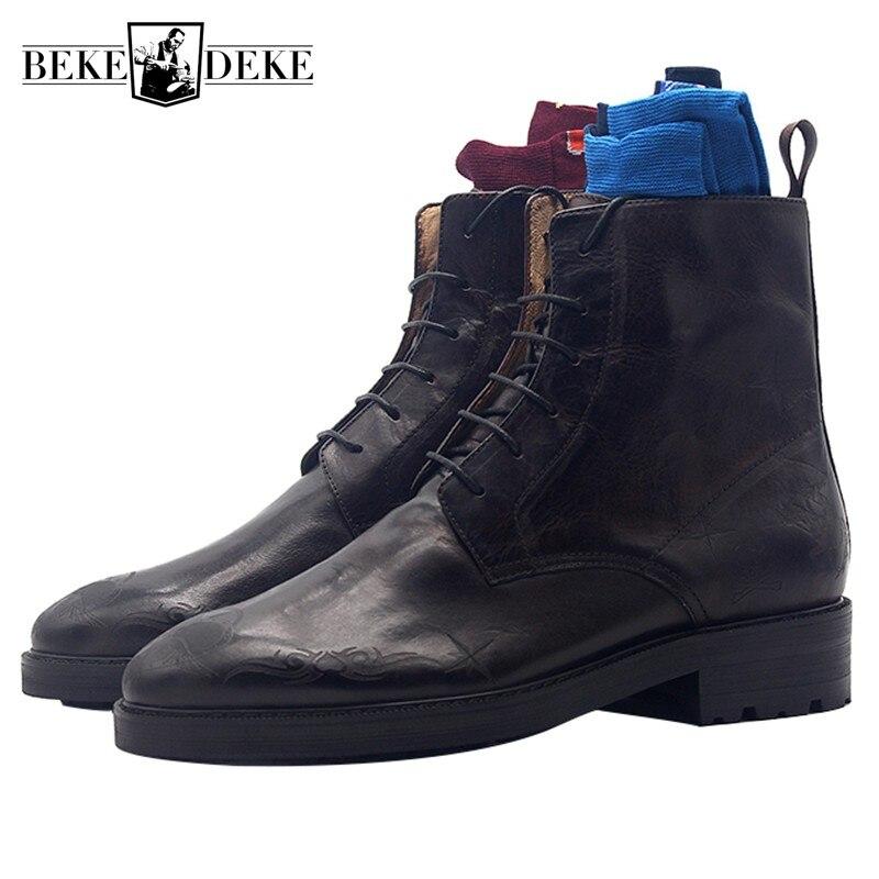 Pointed Toe buty mężczyźni ręcznie rzeźbione Lace Up kowbojskie buty prawdziwe skórzane luksusowe Retro biuro formalne botki buty męskie w Podstawowe buty od Buty na  Grupa 1