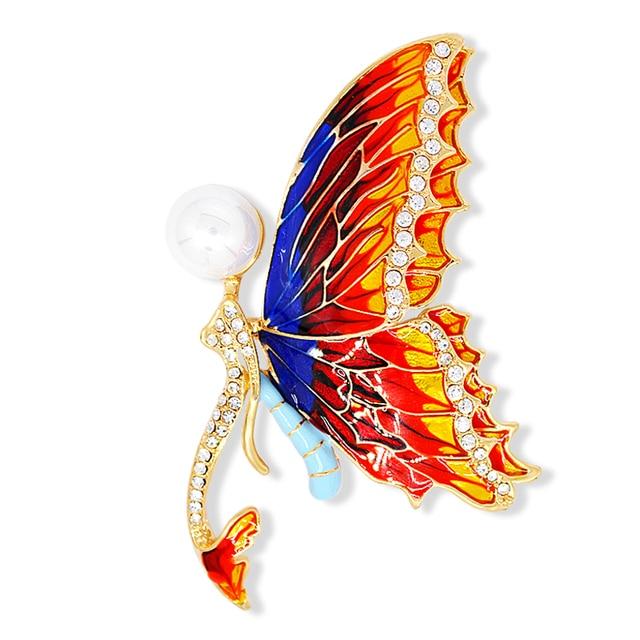 B715 emaille tekening vlinder broche pins goud kleur - Papillon dessin couleur ...