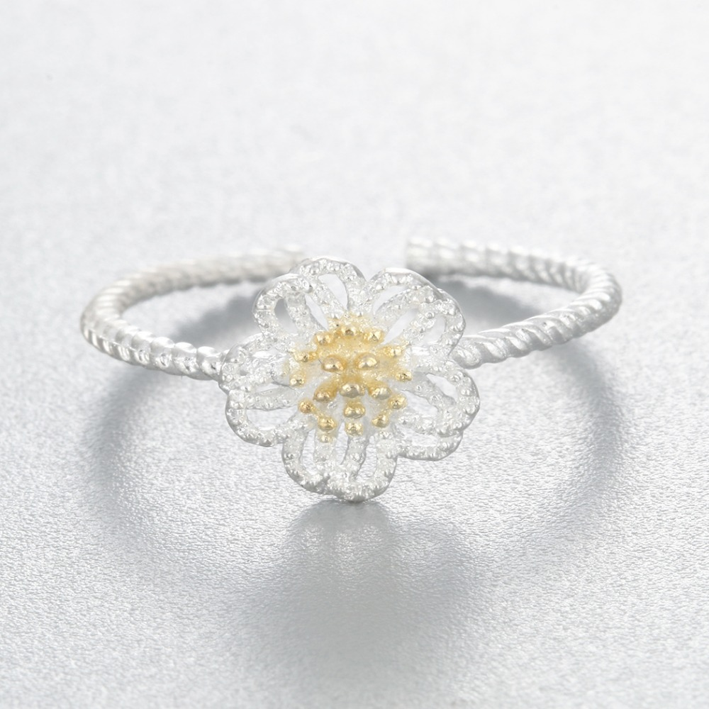 Aliexpress buy 925 sterling silver blooming daisy flower ring aliexpress buy 925 sterling silver blooming daisy flower ring open elegent charm twist band nail bague women infinity homme bijoux fashion gift from izmirmasajfo
