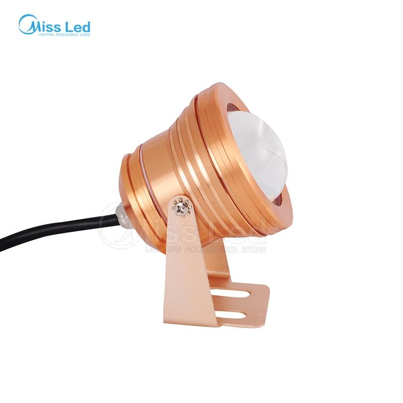 10W LED Underwater Floodlight Golden Case RGB 12V Swimming Pool Light IP68 Waterproof Lighting foco with Convex Glass Spot light