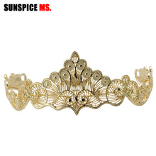 Sunspicems Gold Color Moroccan Wedding Tiaras Hairware Jewelry for Women Metal Wave Line Crown Opening Headband Bridal Gifts
