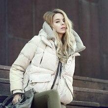 Moda Para Baixo Mulheres Jaqueta Casaco de Inverno 2017 de Moda de nova Grosso Senhora Pato branco Para Baixo de Vestuário Com Capuz thicking casaco Quente 3 cores